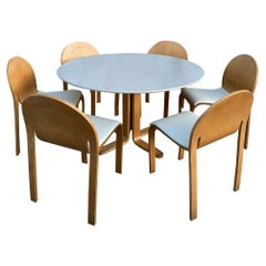 Rare Peter Danko Design Mid-Century Modern Dining Table '6' Chairs Bent Wood