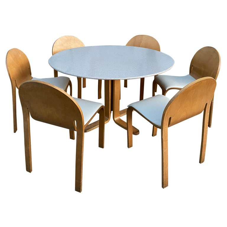 Rare Peter Danko Design Mid Century Modern Dining Table 6 Chairs Bent Wood At 1stdibs