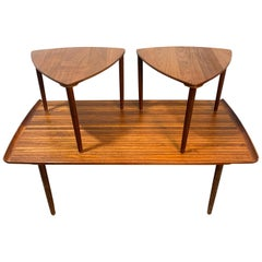 Rare Peter Hvidt Danish Coffee Table and Satellite Table Set