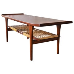 Rare Peter Lovig Nielsen Teak Coffee Table, Flared Ends and Cane Wrapped Shelf