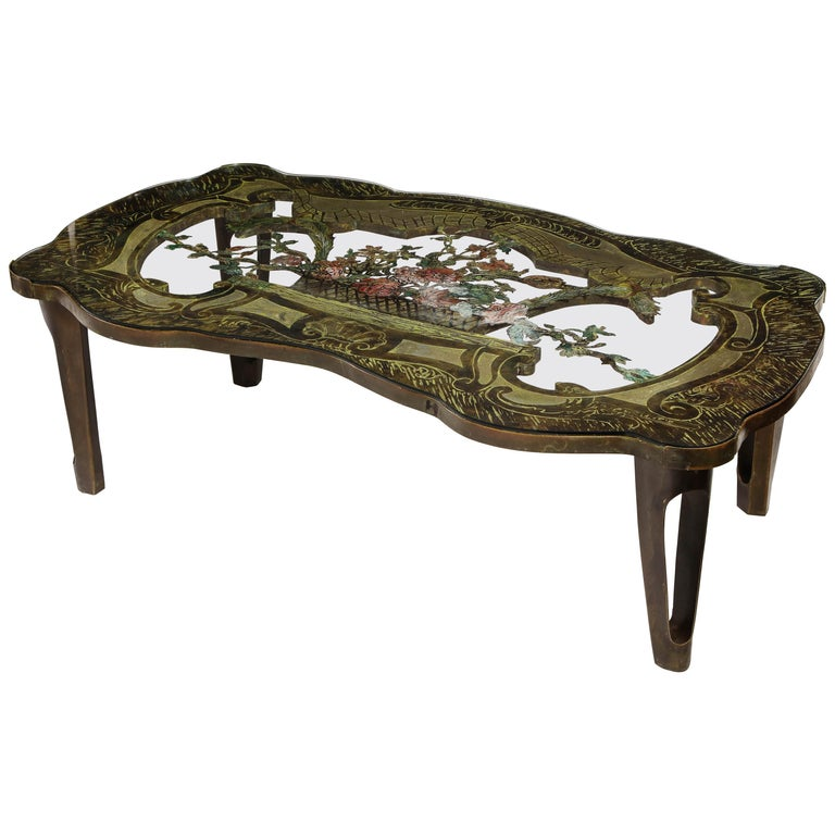 Rare Philip and Kelvin LaVerne 'La Reine Floral' Patinated Bronze Coffee Table For Sale
