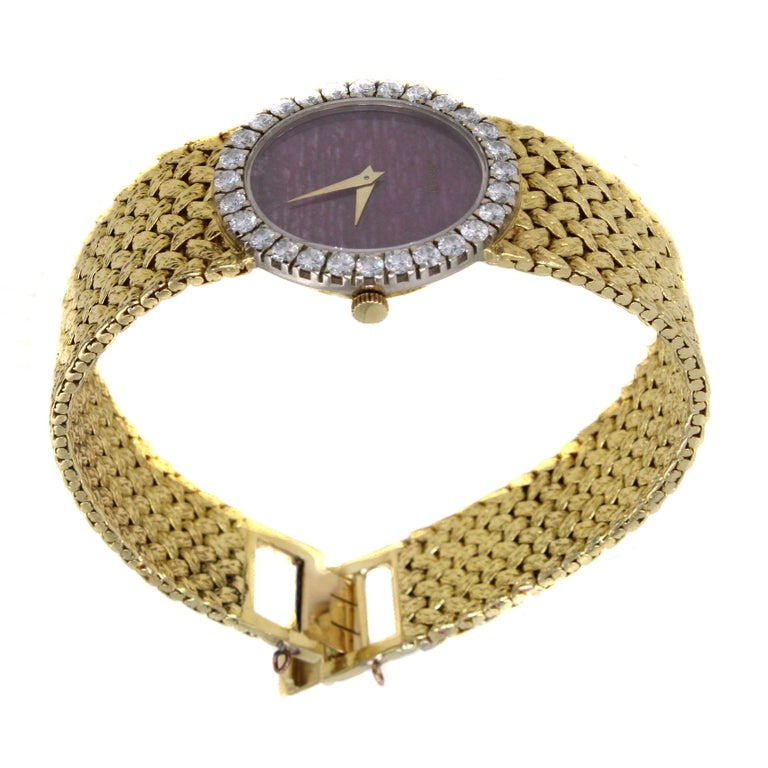 Rare Piaget Ruby Dial Diamond 18 Karat Gold Mechanical Wristwatch For Sale 5