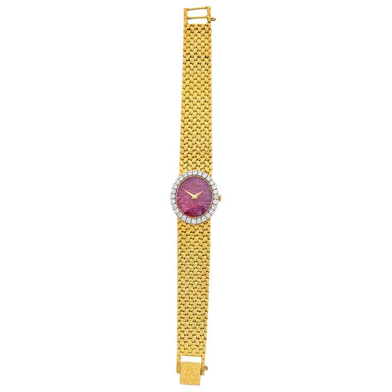 Round Cut Rare Piaget Ruby Dial Diamond 18 Karat Gold Mechanical Wristwatch For Sale