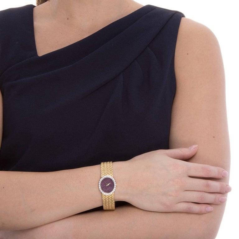 Women's or Men's Rare Piaget Ruby Dial Diamond 18 Karat Gold Mechanical Wristwatch For Sale