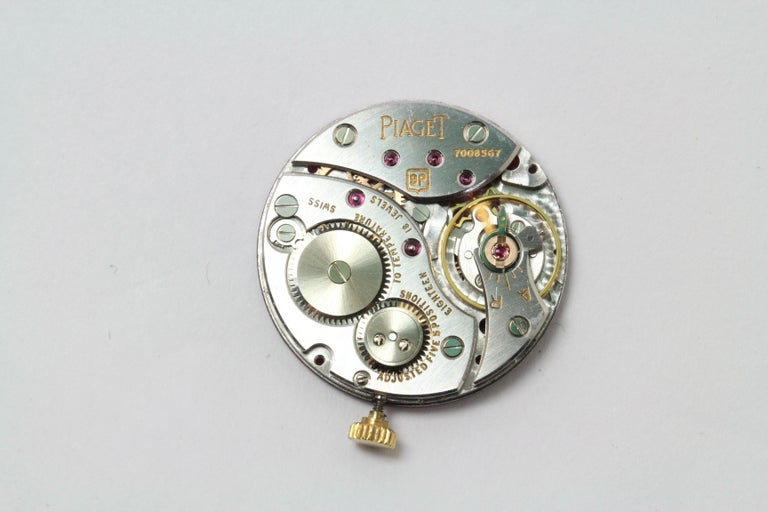 Rare Piaget Ruby Dial Diamond 18 Karat Gold Mechanical Wristwatch For Sale 2