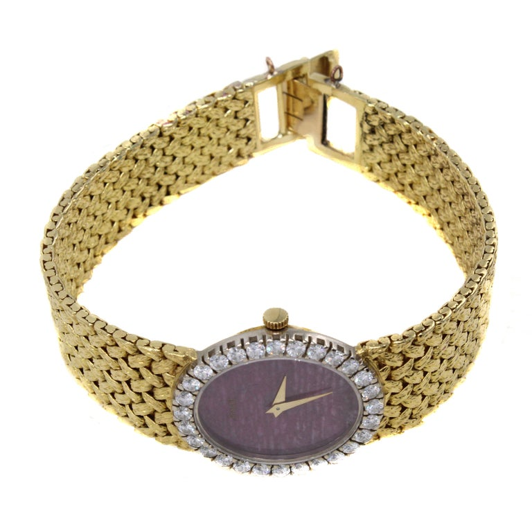 Rare Piaget Ruby Dial Diamond 18 Karat Gold Mechanical Wristwatch For Sale 3