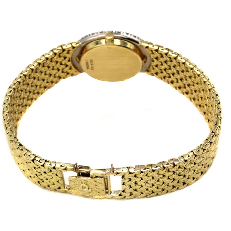 Rare Piaget Ruby Dial Diamond 18 Karat Gold Mechanical Wristwatch For Sale 4