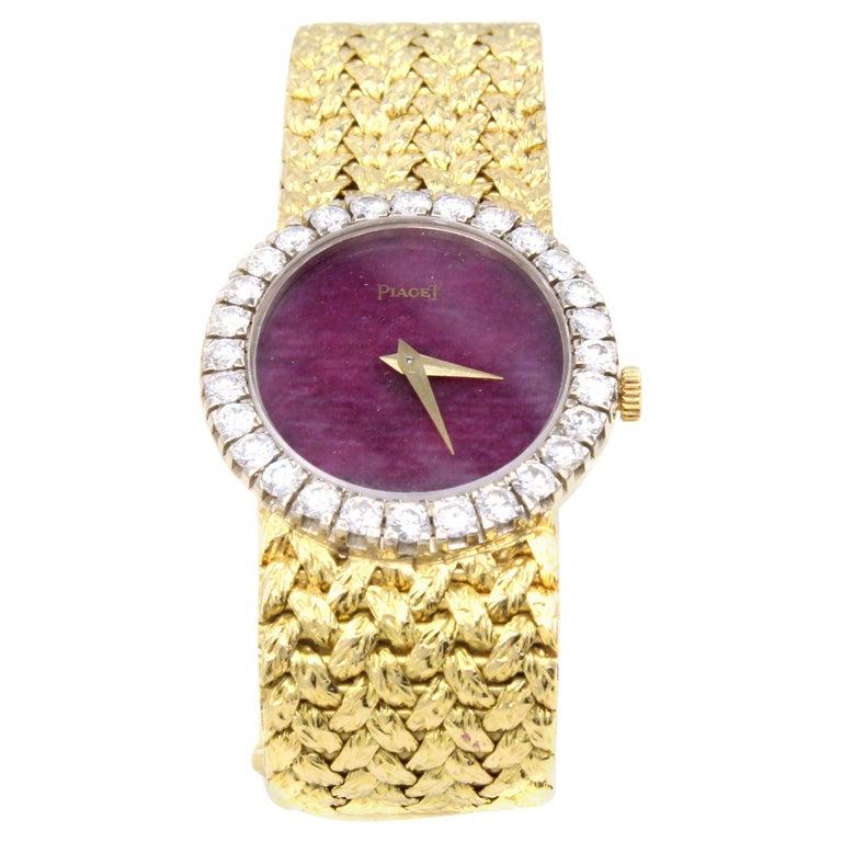 Rare Piaget Ruby Dial Diamond 18 Karat Gold Mechanical Wristwatch For Sale