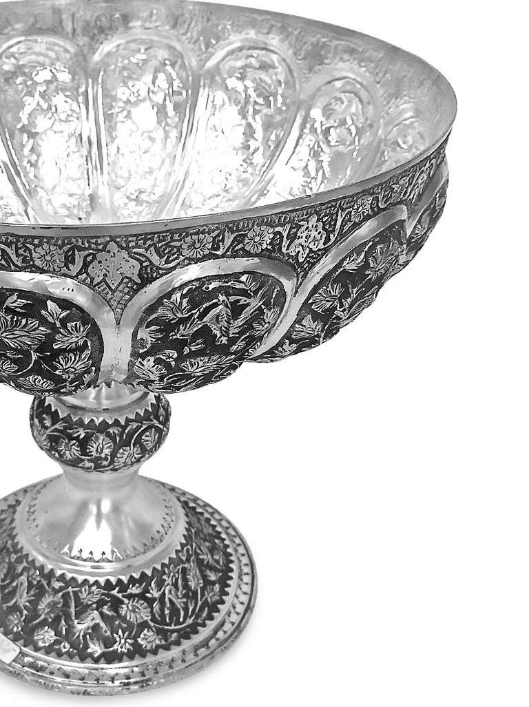 Women's or Men's Rare Piece Handmade Persian Silver Bowl For Sale