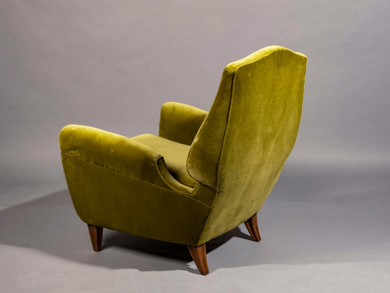 Lounge chair by Pierluigi Colli, designed for his personal home in Turin, Italy 1950s, sculptural form, cherrywood legs, reupholstered in Lelievre cotton velvet, in chartreuse green, how originally designed.