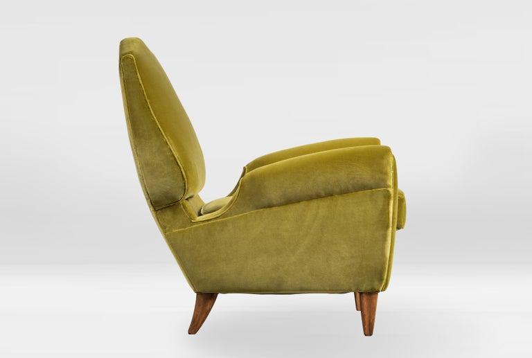 Rare Pierluigi Colli Lounge Chair, 1950s, in Lelievre Velvet For Sale 1