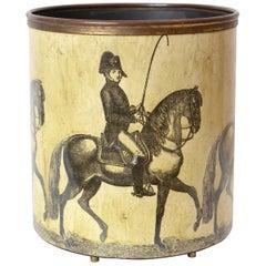 Rare Piero Fornasetti 'Cavalieri' 'Horsemen' Waste Paper Basket, Italy