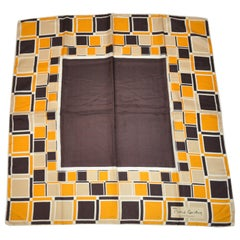 "Rare Pierre Cardin Shades of Browns & Yellows ""Geometric Blocks"" Silk Scarf"