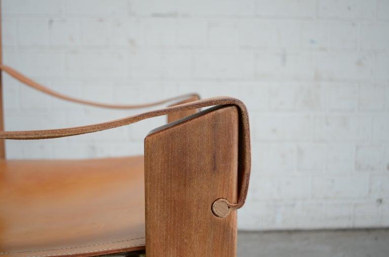 Rare Pierre Chapo Saddle Cognac Chair For Sale 3