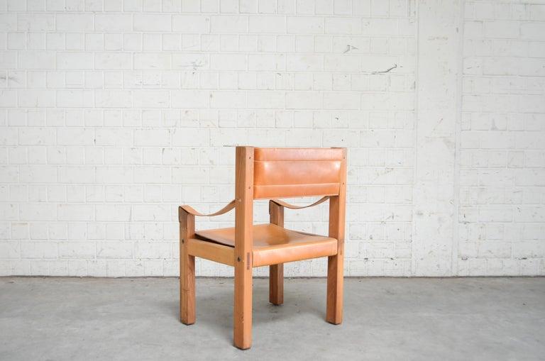 Rare Pierre Chapo Saddle Cognac Chair For Sale 4