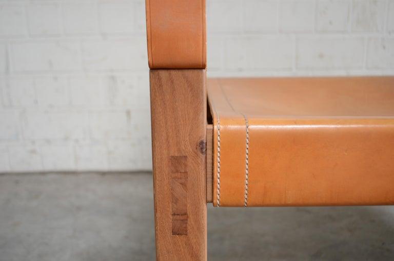 Rare Pierre Chapo Saddle Cognac Chair For Sale 5
