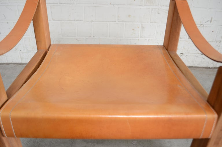 Rare Pierre Chapo Saddle Cognac Chair For Sale 6