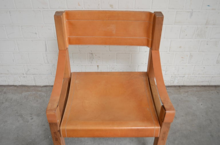 French Rare Pierre Chapo Saddle Cognac Chair For Sale