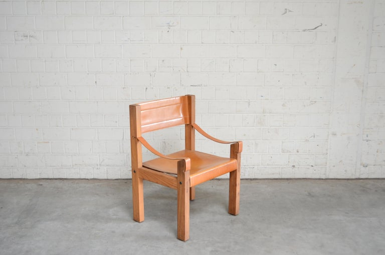 Rare Pierre Chapo Saddle Cognac Chair In Good Condition For Sale In Munich, Bavaria