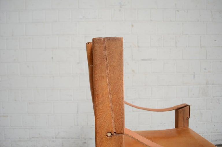Leather Rare Pierre Chapo Saddle Cognac Chair For Sale