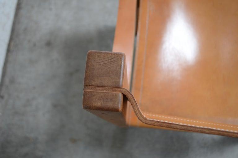 Rare Pierre Chapo Saddle Cognac Chair For Sale 1
