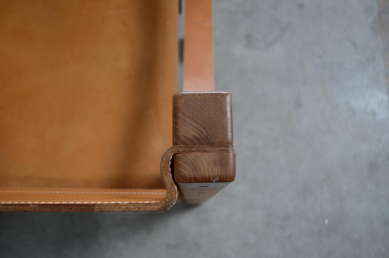 Rare Pierre Chapo Saddle Cognac Chair For Sale 2