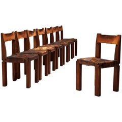Rare Pierre Chapo Set of Eight S11 Dining Chairs in Sipo Wood and Leather