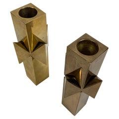 Rare Pierre Forssell for Skultuna Solid Brass Candlesticks, 1960s, Sweden