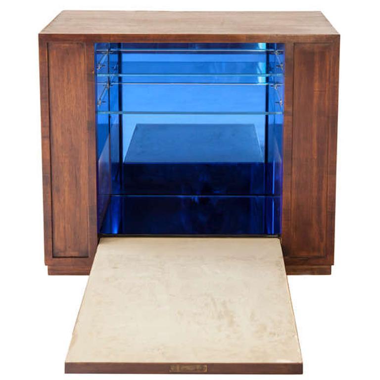 Rare Pietro Chiesa Hanging Blue Mirrored Cabinet Bar for Fontana Arte, 1940