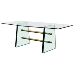 Rare Pietro Chiesa Large Glass Dining Table for Fontana Arte, circa 1940