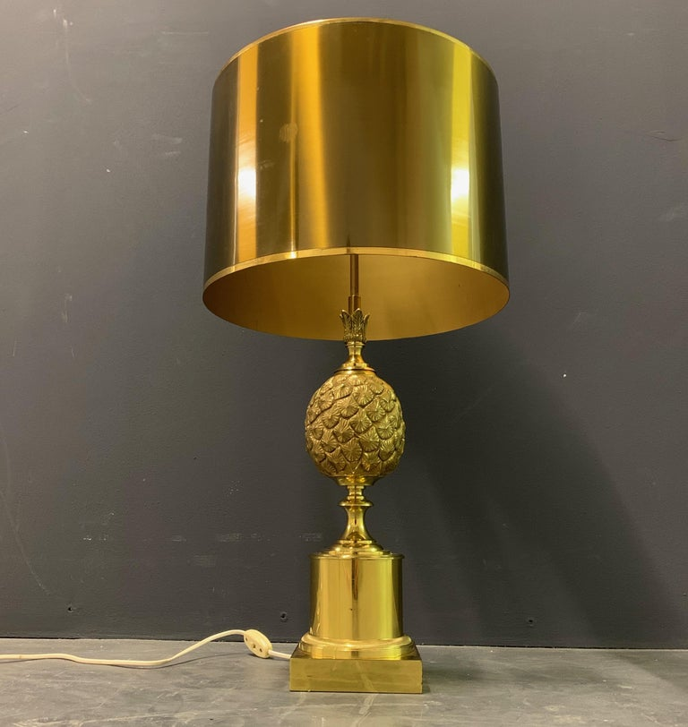 Hollywood Regency Rare Pinecone Table Lamp by Maison Charles / Signed For Sale