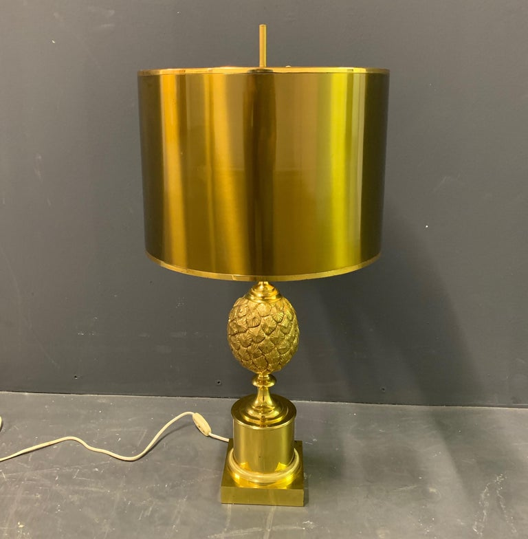 Rare Pinecone Table Lamp by Maison Charles / Signed In Good Condition For Sale In Munich, DE
