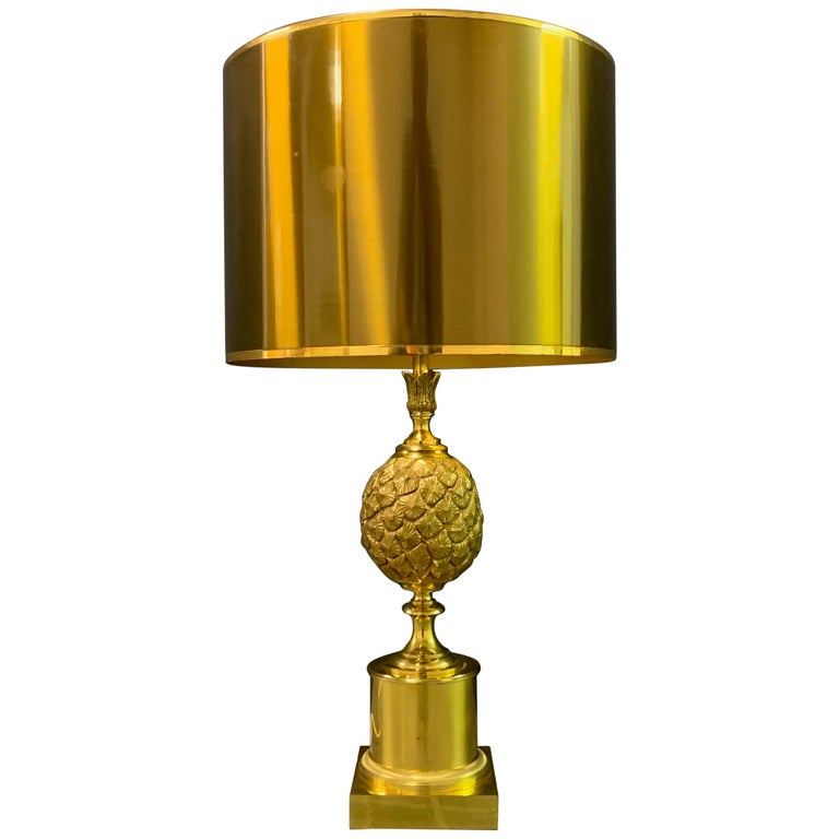 Rare Pinecone Table Lamp by Maison Charles / Signed For Sale