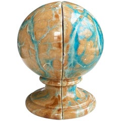 Rare Pink and Blue Marbled Alabaster Stone Globe Bookends, Italy