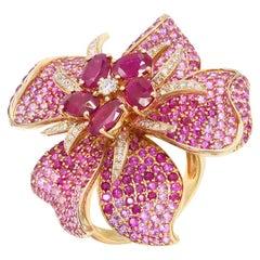 Rare Pink Diamond Ruby Pink Sapphire Flower 14 Karat Ring