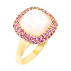 Rare Pink Sapphire Mother of Pearl Rock Crystal 18 Karat Gold Diamond Ring