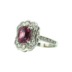 Rare Pink Spinel Ring with Diamonds 18 Karat Gold