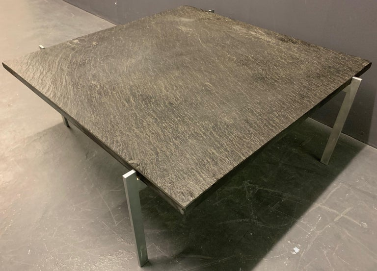 Rare PK61 Coffee Table Signed EKC with Amazing Slate Top For Sale 2