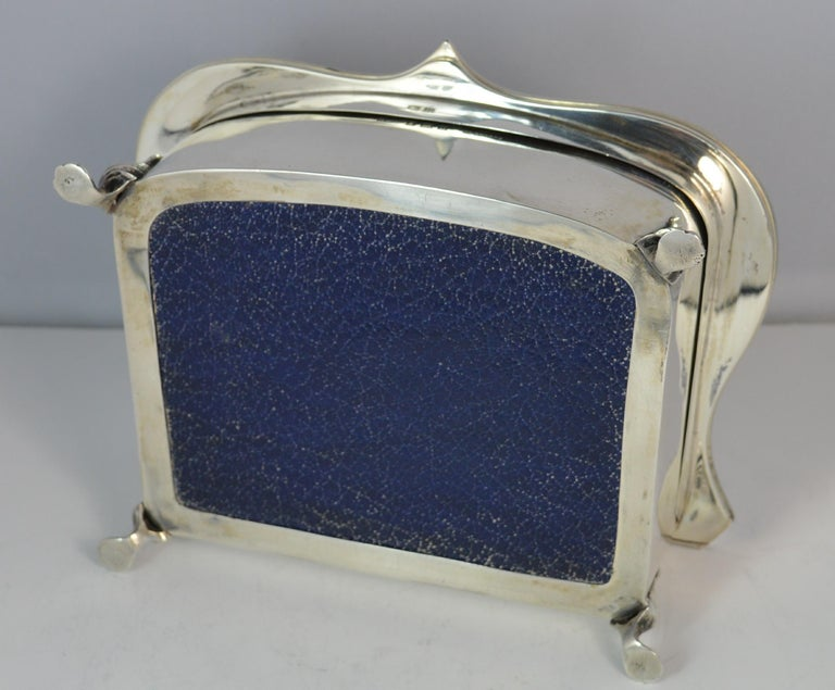 Rare Plain 1919 Hallmarked Solid Silver Two-Tier Jewelry and Multi Ring Box For Sale 6