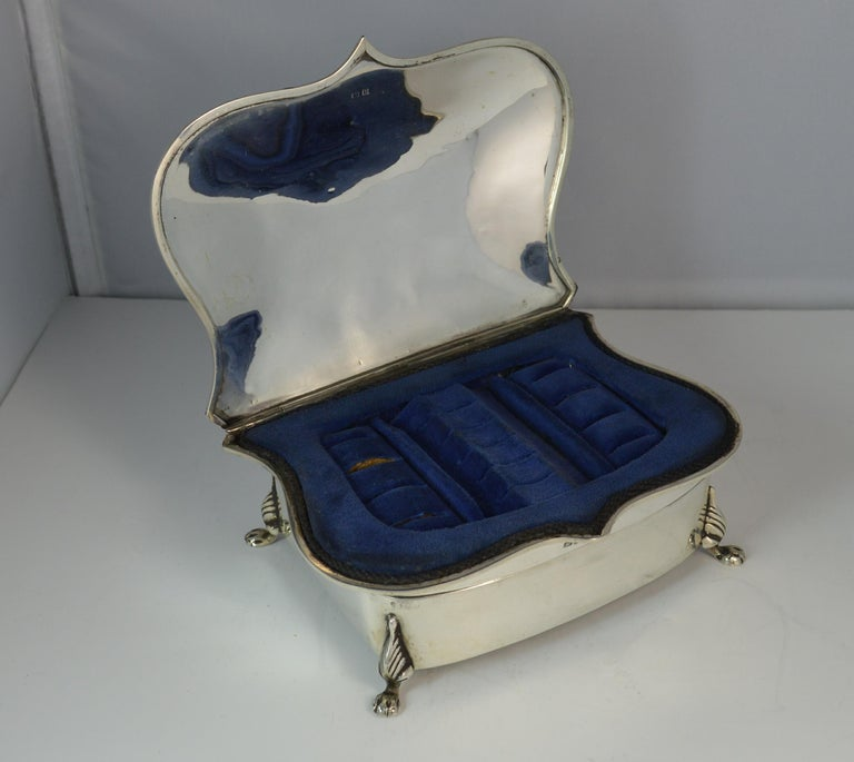 Rare Plain 1919 Hallmarked Solid Silver Two-Tier Jewelry and Multi Ring Box For Sale 2