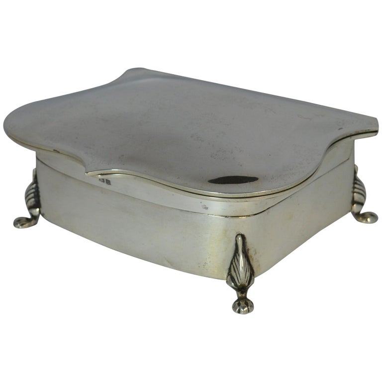 Rare Plain 1919 Hallmarked Solid Silver Two-Tier Jewelry and Multi Ring Box For Sale