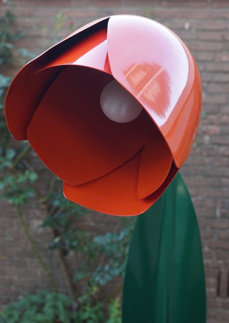Rare Pop Art Tulip Floor Lamp In Green And Red Painted Metal By Bliss Uk 1980s At 1stdibs