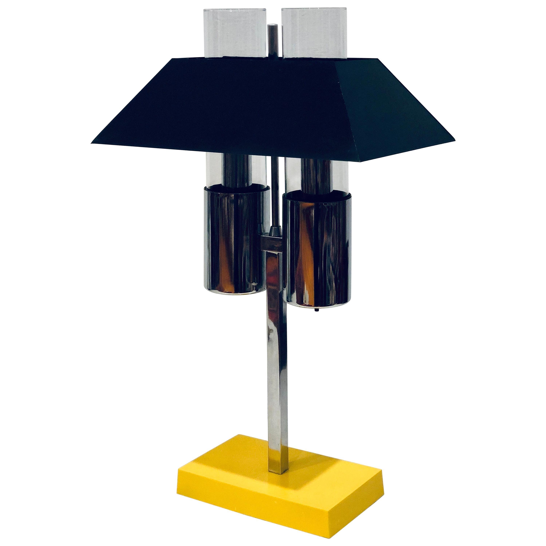Rare Postmodern Memphis Era Desk Lamp in Chrome Enamel Metal and Glass
