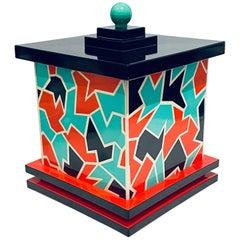 Rare Postmodern Memphis Era Japanese Lacquer-Ware Ice Bucket