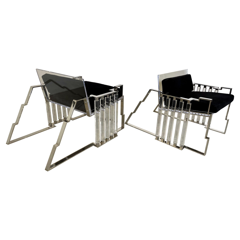 Rare Pr. American Modern Polished Steel & Lucite Chairs, Charles Hollis Jones