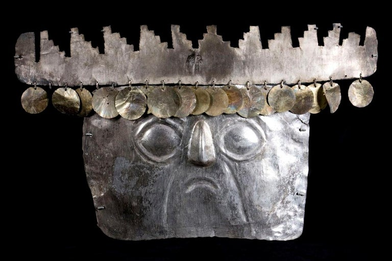 Peruvian Rare Pre-Columbian Inca Silver Mask with Gold Sequins For Sale