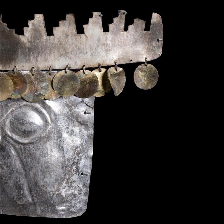 Repoussé Rare Pre-Columbian Inca Silver Mask with Gold Sequins For Sale