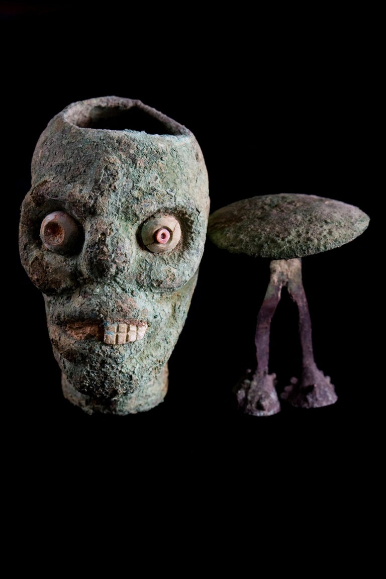 Rare Pre-Columbian Moche Copper Skull Vessel, Peru, circa 200-500 AD For Sale 4
