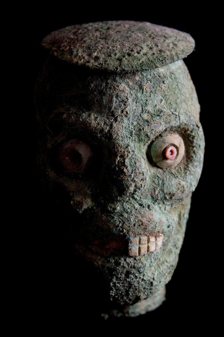 Peruvian Rare Pre-Columbian Moche Copper Skull Vessel, Peru, circa 200-500 AD For Sale