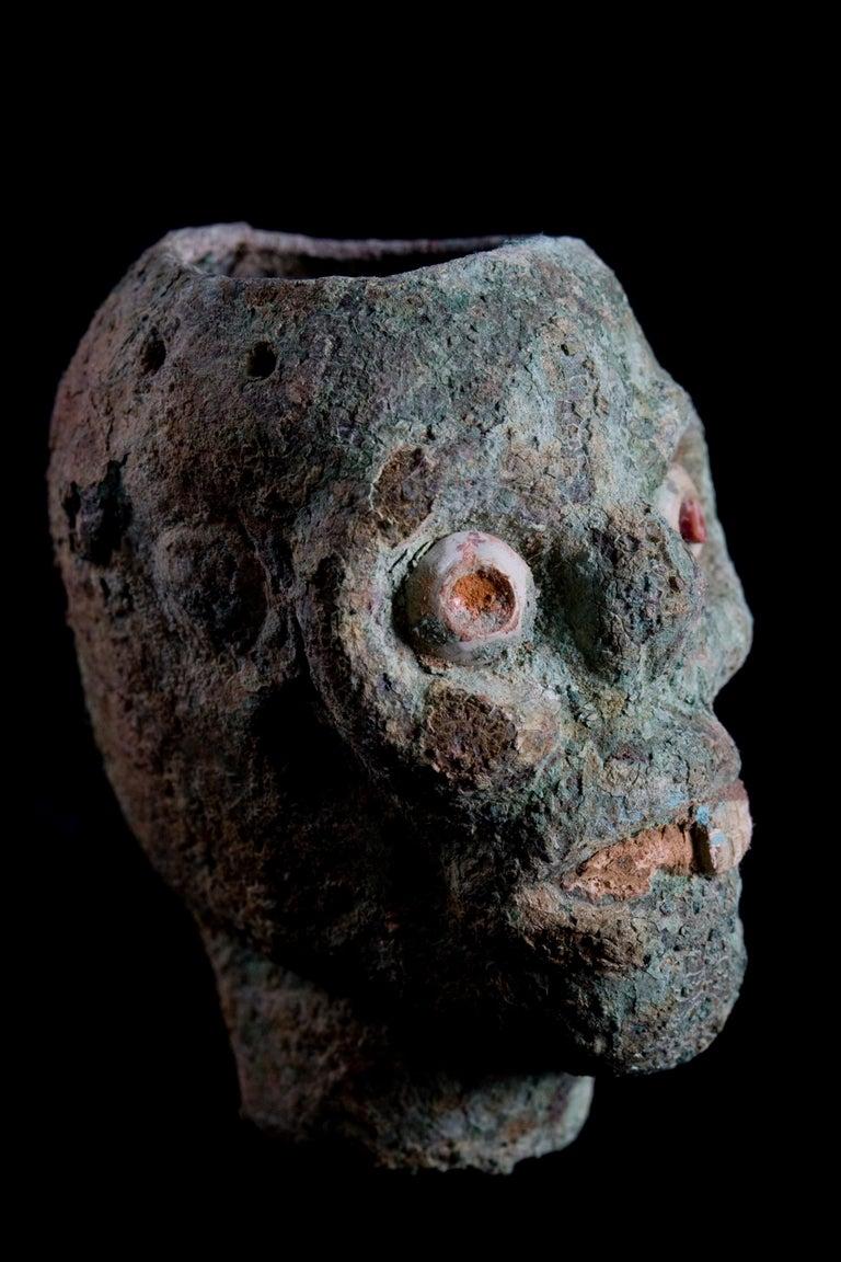 Rare Pre-Columbian Moche Copper Skull Vessel, Peru, circa 200-500 AD For Sale 1